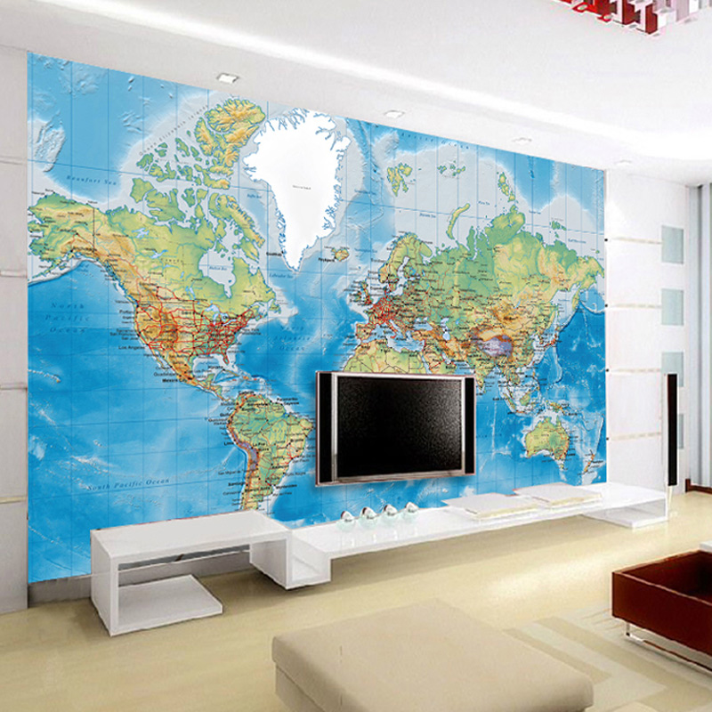 Non-woven World Map Office Wallpaper Living Room Den Large 3D Mural Personalized Wallpaper Custom Wall Covering Papel De Parede