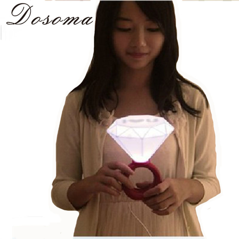 Diamond Lights White Light Emitting Lamp Romantic Blue Red Diamond Ring Night Light Male And Female Friend Gift Ring Nightlight(China (Mainland))