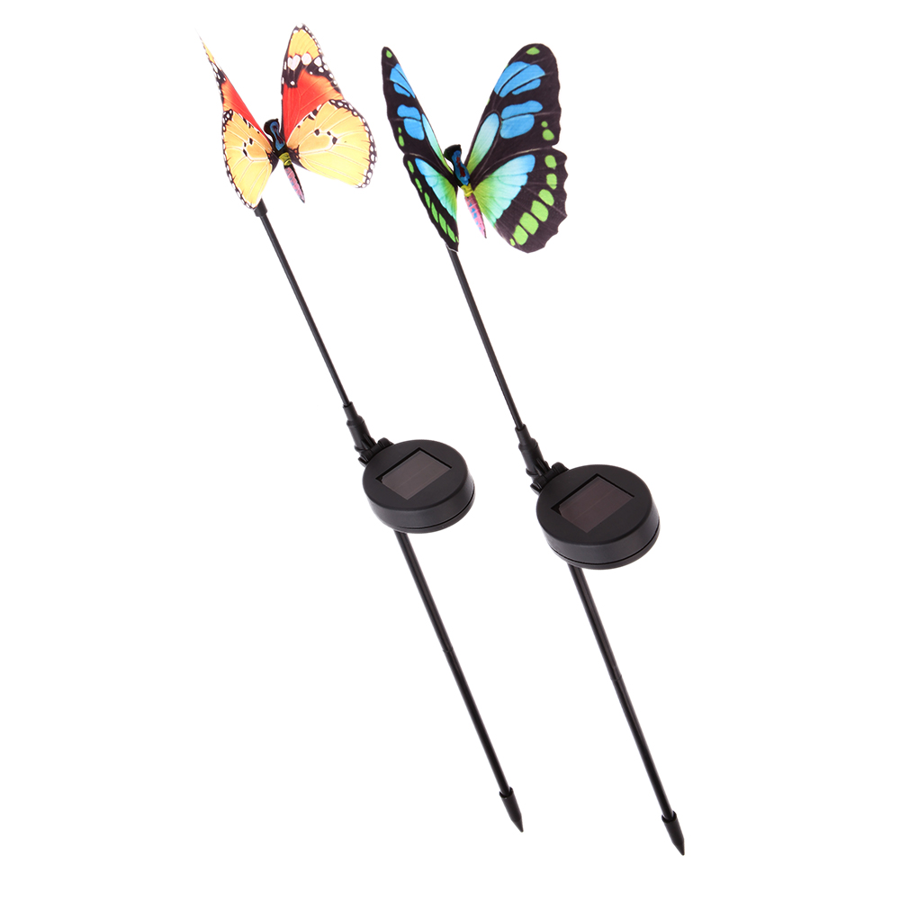 2 Pieces LED Color Light Garden Stake Lawn Decoration Lamp Rechargeable Solar Power Optical with Cell Light Sensor Butterfly(China (Mainland))