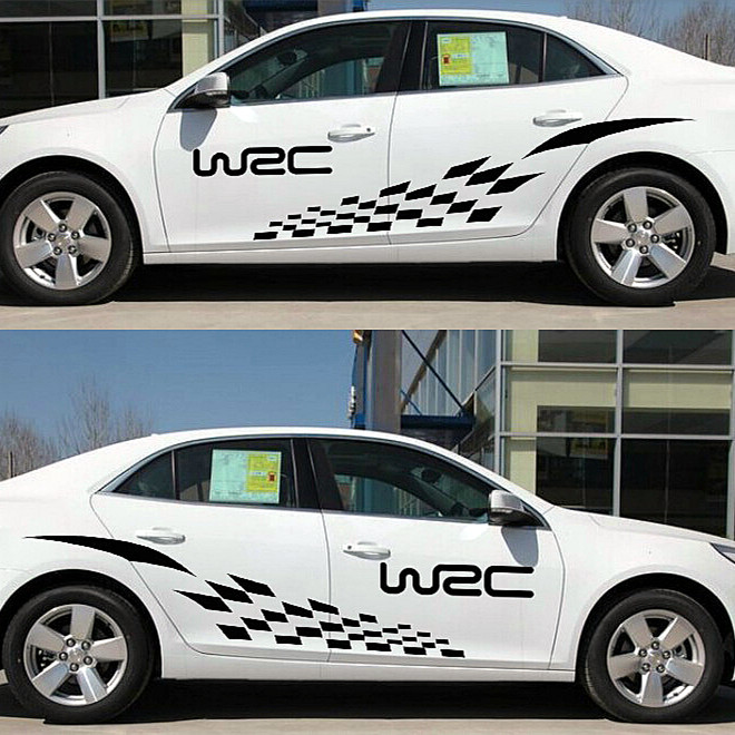 2015 New Arrive 2PCS Pair 180 39CM WRC Racing Track Sticker Car Styling Decal Adhesive font