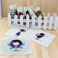 Hand dyed 8 Assorted  Cotton Linen Printed Fabric For  Purse cloth Patchwork Home Textile Decor cloth 12x15cm cute girl /doll