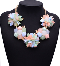 XG015 2015 New Arrival High Quality Chunky Necklaces & Pendants 4 Colors Luxury Flower Statement Necklace Collares Mujer Jewelry