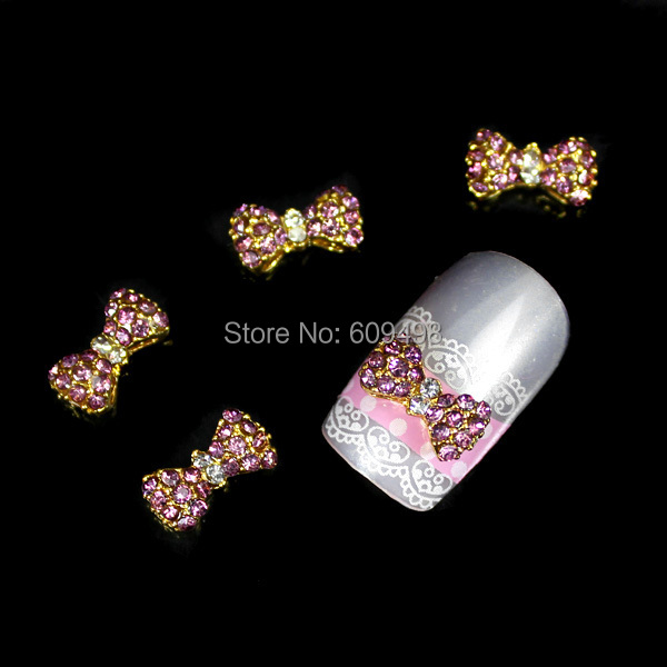 C168 50pcs/lot Newest golden Bowknot 3D Crystal Rhinestones Nail Tips Decor Nail Art Cell Phone Craft 3colors are availabel(China (Mainland))