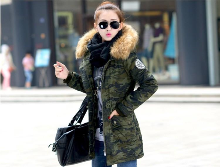 2015 women winter coat wadded jacket medium-long plus size 4XL Parka fur collar thickening hood abrigos female snow wear