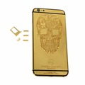 24K Gold Metal Engraved SKULL Pattern Back Cover Rear Housing Replacement Middle Frame LOGO for iPhone