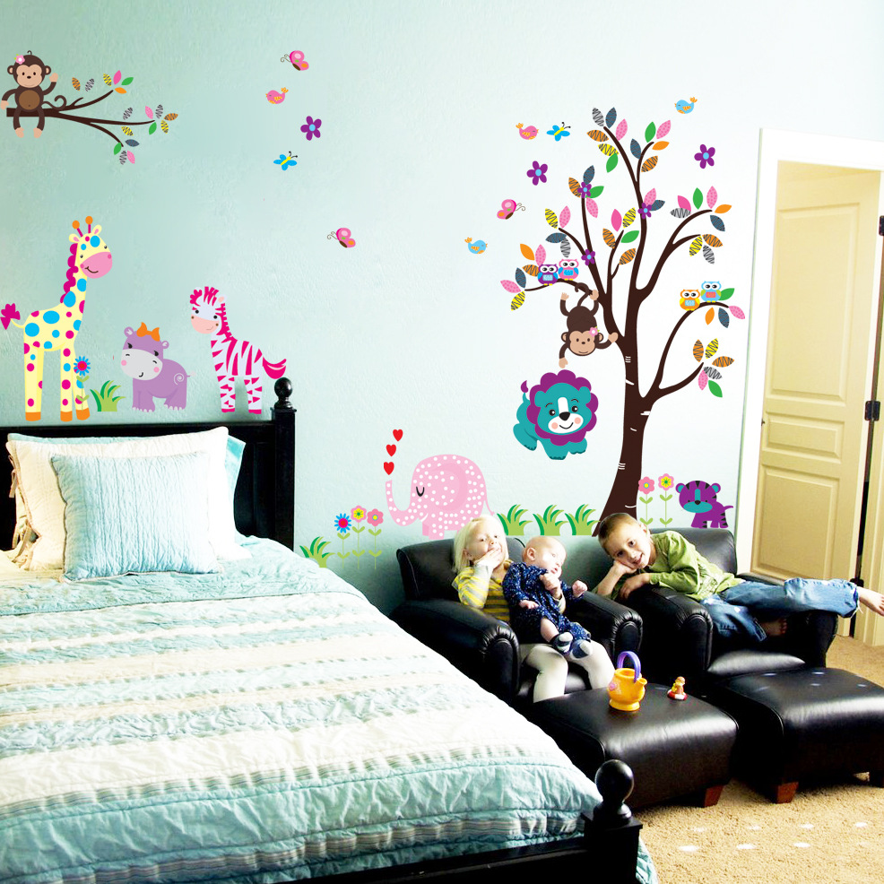 5099 extra large trees and lovely OWL monkeys and giraffes elephant in Europe and best selling trade wall sticker decal(China (Mainland))