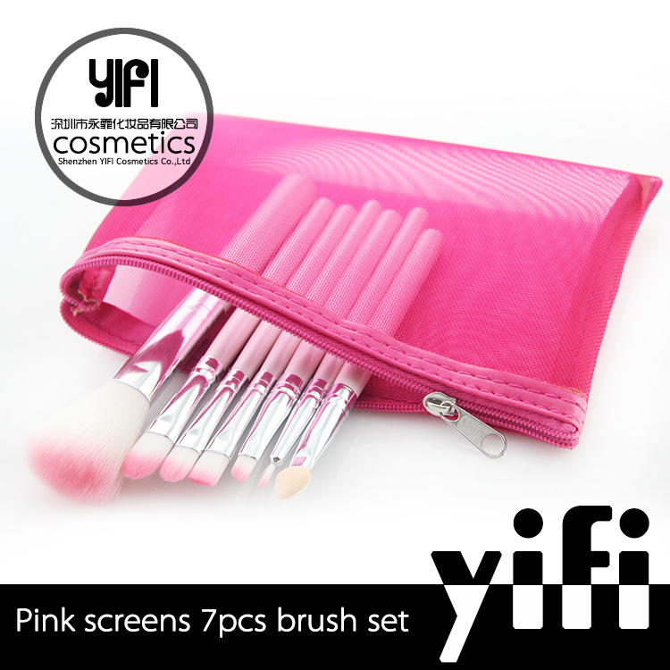 pink 7 support cosmetic brush portable section makeup brush set make-up appliances beauty makeup makeup tool wholesale<br><br>Aliexpress