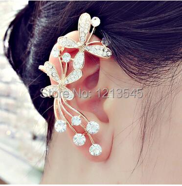 Korean bow ear clip earring jewelry personality butterfly 18k ear cuffs earrings for women jewelry YS-c-c22(China (Mainland))