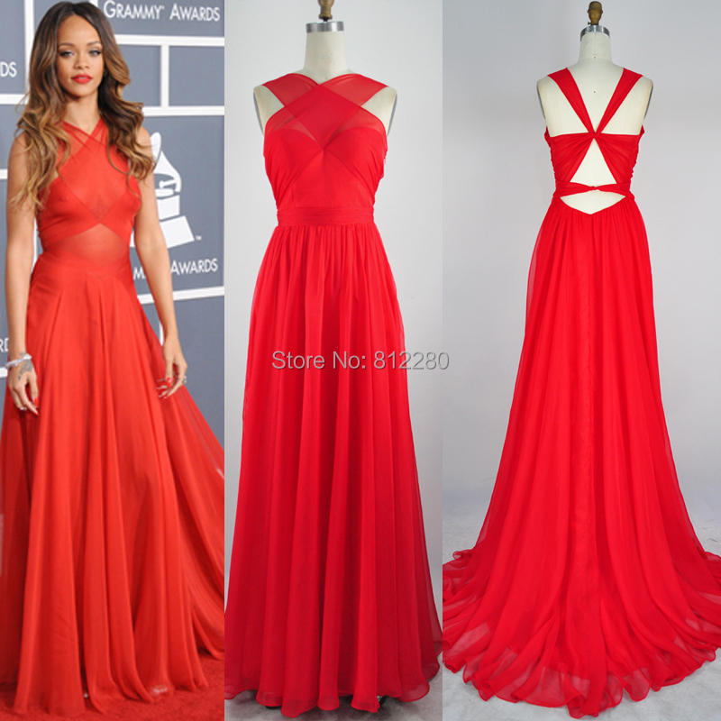 Grammy Rihanna Red Carpet Dress A-line Sheer Criss Cross Chapel Train Red/Royal Blue Chiffon Celebrity Dresses Real Image - Yalante Official Fashion Store store