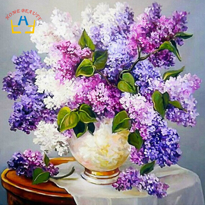 Home beauty diamond embroidery kits cross stitch full square drill needlework dmc diamond painting craft mosaic flowers  AA412(China (Mainland))