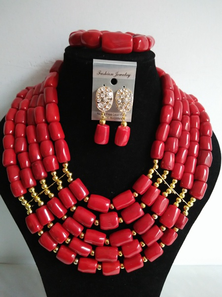 Chunky Red Coral Bead Necklace Sets Nigieran Wedding African Coral Beads Jewelry Set Free Shipping ABF550<br><br>Aliexpress