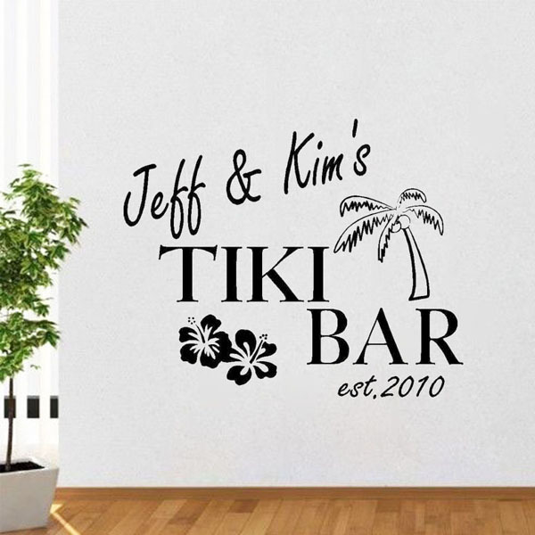 Custom Name Tiki Bar Wall Decals Vinyl Lettering Personalized Sticker Words Choose Name & Colors Vinyl Decal Home Decor(China (Mainland))