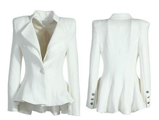 White Fitted Coat - Coat Nj