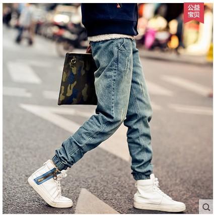 2015 New Fashion mens Korean Style Distrressed Jogger folds Jeans Gradient Slim Fit Pants Skinny Stretch elastic jeans,JA265(China (Mainland))