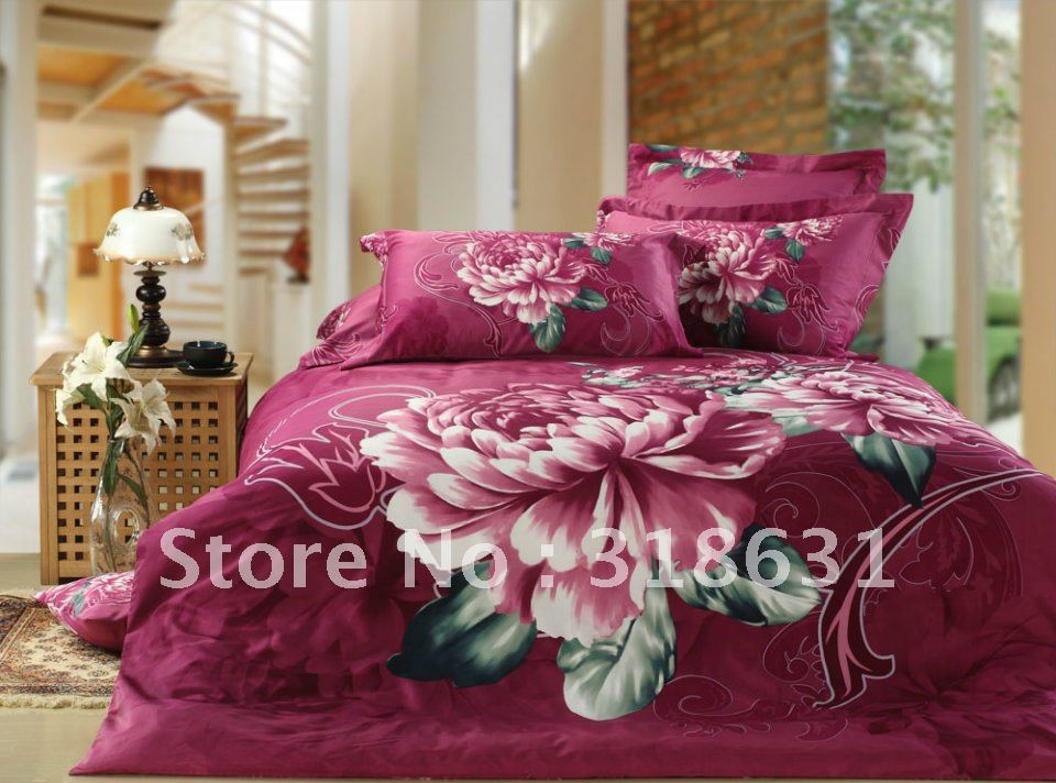 Free Shipping pink flower floral duvet quilt cover for Full/Queen comforter bedding 5piece set Violet Red doona cover sets(China (Mainland))
