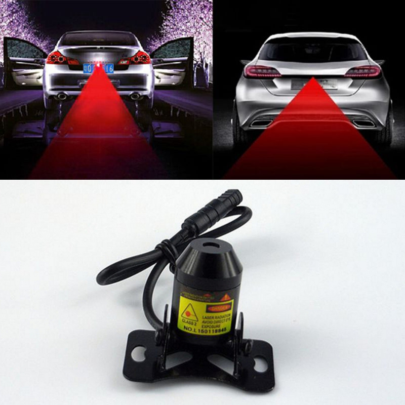1Pcs Car Warning Laser Tail Fog Light Auto Brake Parking Lamp Rearing Lights External Car Styling Source Red Color Free Shipping(China (Mainland))