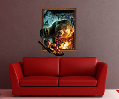 Free Shipping 3d Growling bear wall decals vinyl stickers home decor room decoration removable room wallpaper houses 58*70cm(China (Mainland))