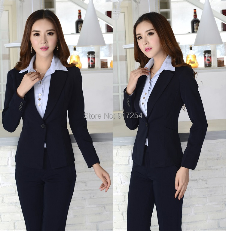 New Elegant Dark Blue Fashion 2015 Autumn Winter Professional Business Office Work Wear Pant Suits Beautician Uniform PantsuitsОдежда и ак�е��уары<br><br><br>Aliexpress