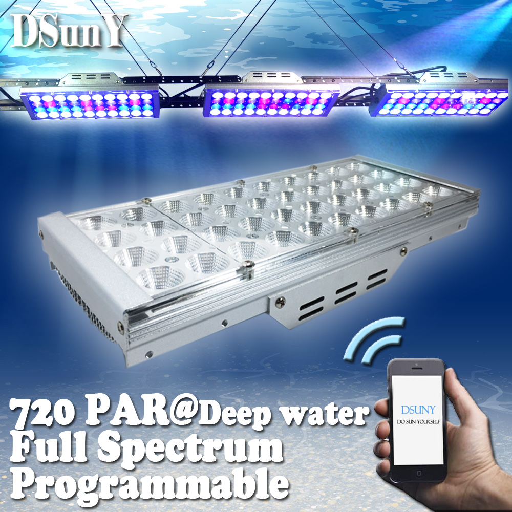 4 Channels Dimmable Programmable WIFI control LED aquarium light for saltwater plant Blue White UV lamp for coral reef fish tank(China (Mainland))