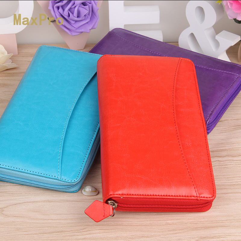 A6 UK Style Multi Function Zip Leather Spiral Filofax Notebook Portable Agenda Planner Organizer Personal Diary Purse Wallet(China (Mainland))