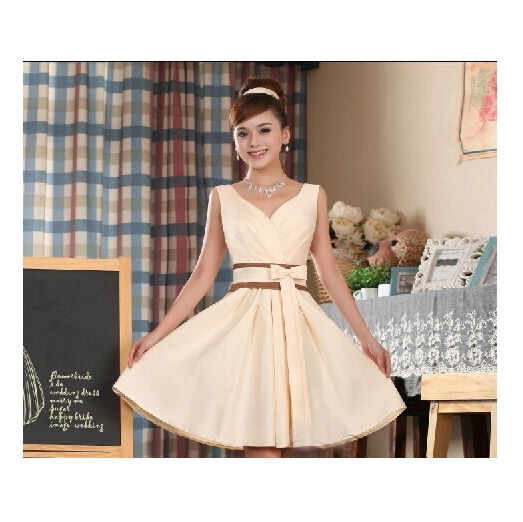 Prom Dresses new Fashion champagne color 2017 Women's Short design V-neck real picture Party evening Dress(China (Mainland))