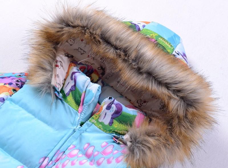 Скидки на Высота 90-140 см 6 7 8 9 лет Девочки зима мультфильм пальто одежда моя пони меховой воротник куртки хлопка для девочки дети милые пиджаки