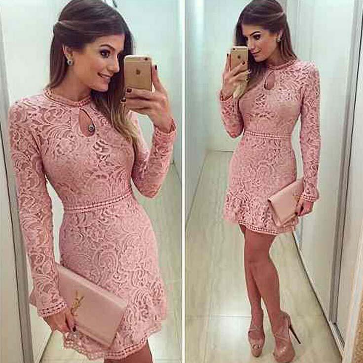 New Arrive 2016 Vestidos Brasil Trend Women Fashion Casual Lace Dress O-Neck Slim Pink Evening Party Dresses Vestido De Festa(China (Mainland))