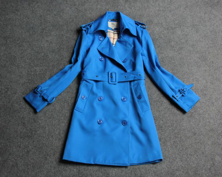 Здесь можно купить  Fashion Fashion Brand Autumn Winter  Women Long Trench Coat Double Breasted Turn-Down Collar Blue Windbreaker With Sashes  Одежда и аксессуары