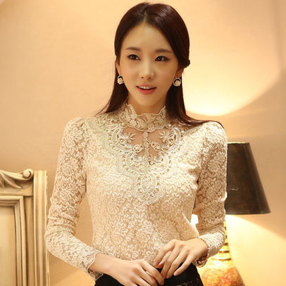 2015 kroean style long sleeve beading collar women body lace feminine blouse female shirts blusas roupas camisas ladies tops(China (Mainland))