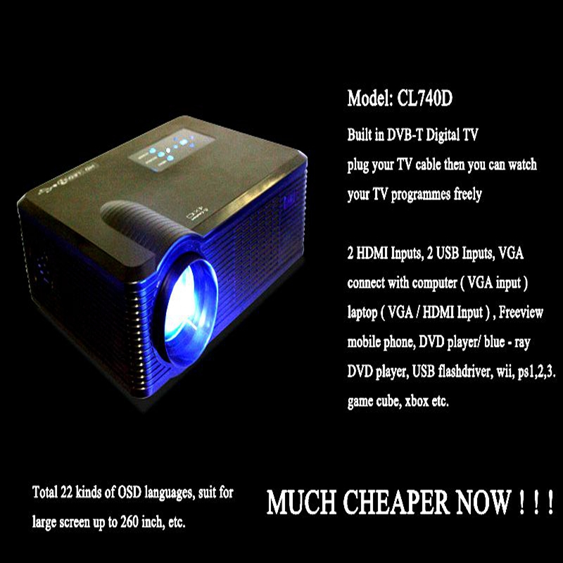 free shipping Portable Home Cinema Theater Multimedia LED Projector 1080p 3d(China (Mainland))