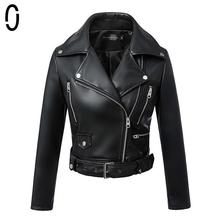 JJ 2016 Black Leather Jacket Women Motorcycle Detachable Sleeve Pu Leather Jackets Women Slim Coats veste en cuir femme