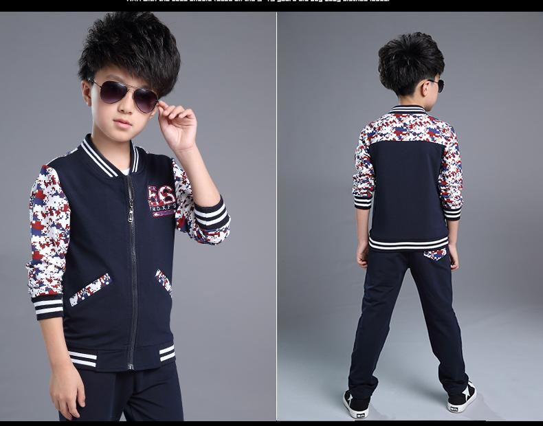 Скидки на [Одежда] бейсбол мальчик установить 2016 новый две кусок костюм на молнии свитер мальчик по имени отдыха
