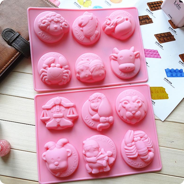 * Kitchen creative Accessories Diy Cupcake Bake Zodiac 6 holes*2 silicone cake mold Soap mold pudding mold jelly mold(China (Mainland))