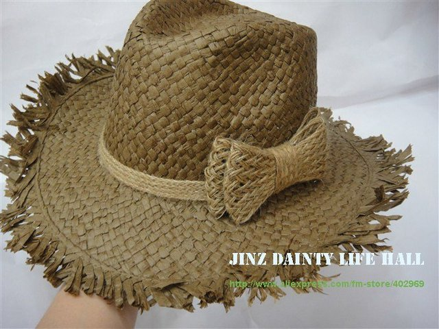 Fringe edge Western Cowboy Cap Hats Sunshade Beach SunCap Straw 4 colours