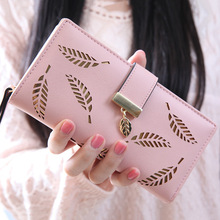Hollow Out leaf Women Wallet long HASP PU leather women purse korean style ladies wallet clutch beautiful 2016 card holder(China (Mainland))
