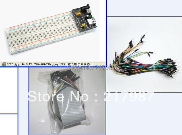 1pcs Breadboard power modul + 1pcs MB102 830p Bread board + 65pcs Flexible jumper wires + 2pcs data cable for arduino kit