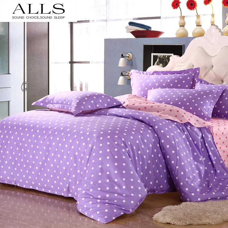 home textile 100% cotton 4pcs bedding set blue dot bedspread pink bed sheet sets quilt cover pillow case christmas bedding set(China (Mainland))