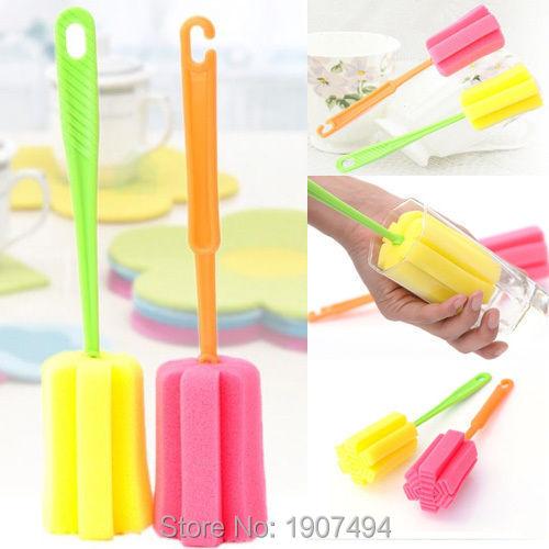 Washing Cleaning Tool Sponge Brush Kitchen Bottle Cup Glass Cleaner Random(China (Mainland))