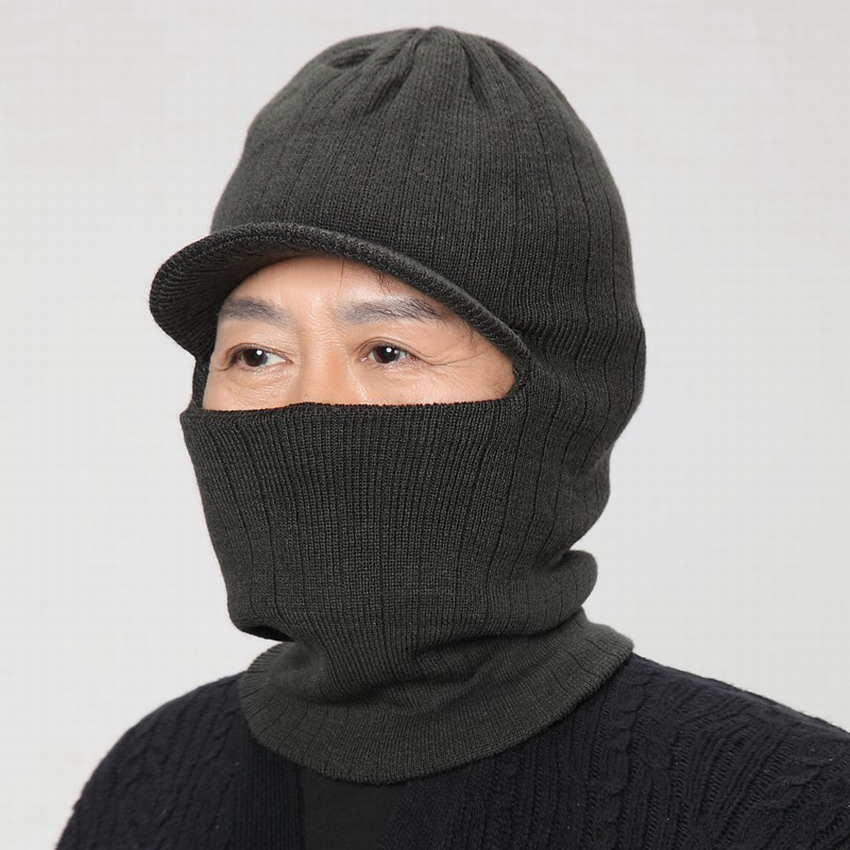 The elderly hat Men yarn winter hat neck protection cap the elderly ear full protection winter warm beanies male cold autumn hat(China (Mainland))