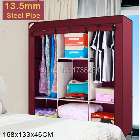 IKEA Furniture DIY Folding Portable Light Fabric Cloth Wardrobe Closet,Big Cabinet,13.5mm Steel Pipe,3.6kg,168*133*46cm,D1325A(China (Mainland))