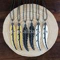 WT NV069 Wholesale Natural bone carved long leaf necklace fashion boho rhinestone paved leaf necklace