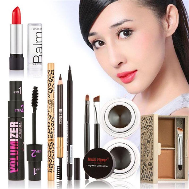 Super Luxury combination Brand Cosmetic Tools 6 sets makeup comb kit eyebrow makeup lipstick mascara eyeliner pen make up set(China (Mainland))