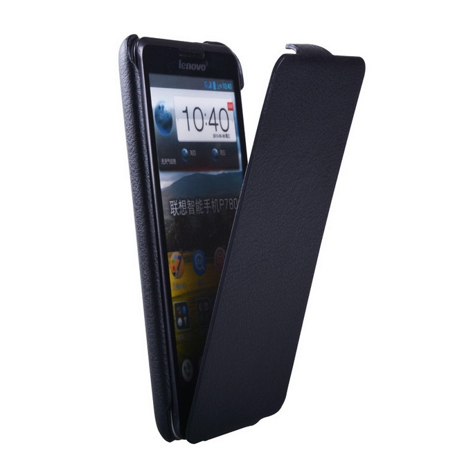Black Luxury Ultra Slim Leather case for lenovo P780 Vertical Flip PU leather cases cover for Lenovo p780 mobile phone bag(China (Mainland))
