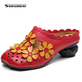 2017 Summer Women Leather high heel slippers Handmade Flower Slides vintage hollow out Sandals soft soles