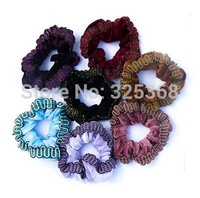 20PCS Wholesale Velvet Hair Scrunchies elastic Spring Hair Bands Ponytail Holder Free Shipping(China (Mainland))
