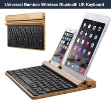 For Apple iPad Pro/ Mini 1/2/3/4, Air/2 Woodpad Bamboo Wireless Bluetooth QWERTY KeYboard & Stand Holder, IOS Android Windows OS