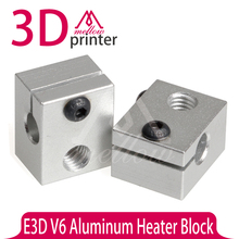 5PCS Upgraded metal parts Aluminum Heater Block V6 Specialized for E3D J-head Reprap Marketbot 3D Printer Extruder
