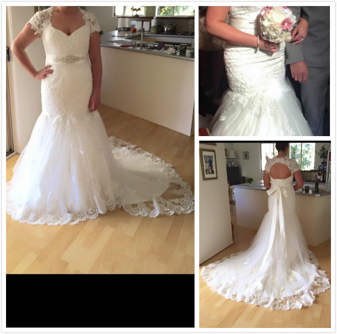 Beautiful Appliques FG-323 Mermaid Wedding Dress 2015 New Design Buyer Show Real Photo With Court Train Vestido De Noiva(China (Mainland))