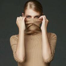 100%MERINO WOOL women long sleeve solid RIB knit turtleneck Heaps collar PULLOVERS sueter sweater top tunic jumper Basic new(China (Mainland))