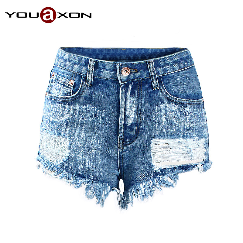 1993 YouAxon Free Shipping Plus Size Casual Vintage Rivet Blue Denim High Waist Shorts Jeans For Women Distressed Short Feminino(China (Mainland))